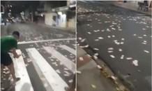 Cướp ngân hàng như trong phim ở Brazil, tiền rải đầy đường