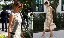 Bà Melania diện váy Gucci, xách túi Hermes trăm triệu đi bỏ phiếu