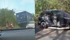 Container hỏng phanh trôi xuống dốc gây tai nạn với 3 ô tô