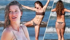 "'Chân dài"" đắt giá Gisele Bundchen mặc bikini nhảy múa trên biển"