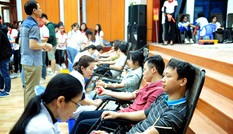 Dòng người xếp hàng hiến máu trong chương trình Chủ nhật Đỏ tại Thái Bình