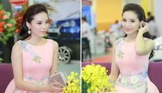 Hoa hậu Kỳ Duyên kiêu kỳ với váy hồng pastel