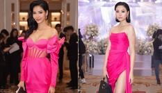 Không chỉ Hoàng Thuỳ, người đẹp này cũng diện váy áo màu nổi tại đám cưới Thuý Vân