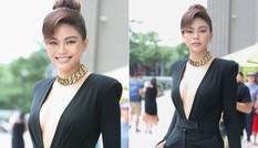 Mâu Thuỷ khiến fans 'thót tim' với bộ trang phục xẻ ngực sâu khi làm giám khảo