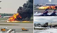 Khoảnh khắc máy bay Nga bốc cháy, lao vun vút trên đường băng