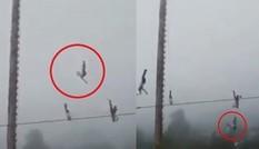 Kinh hoàng khi dây bảo hộ bất ngờ đứt, thanh niên biểu diễn đu dây rơi từ độ cao 20 mét