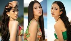 Cận cảnh nhan sắc quyến rũ của Hoa hậu Tiểu Vy và hai Á hậu ngày cuối đương nhiệm