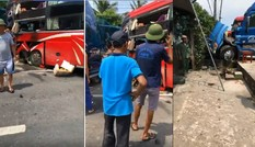 Container đấu đầu xe khách, người đón xe buýt chết thương tâm