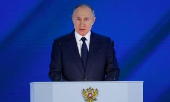 Tổng thống Nga đọc thông điệp liên bang ngày 21/4Ảnh: Tass