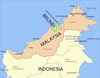 Toàn bộ lãnh thổ Brunei nằm trên hòn đảo nào?