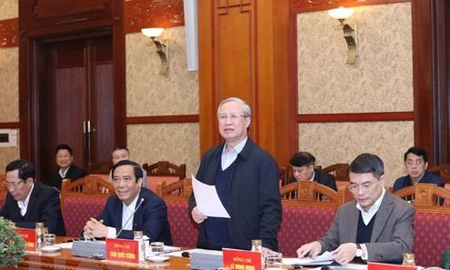 Ông Trần Quốc Vượng chủ trì phiên họp thứ 6 của Tiểu ban Tổ chức phục vụ Đại hội XIII