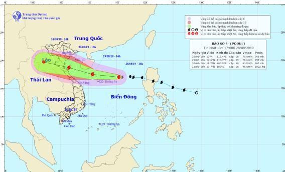 Dự báo bão số 4 sẽ đổ bộ vào chiều Thứ Sáu với sức gió mạnh cấp 8-9, giật cấp 11.