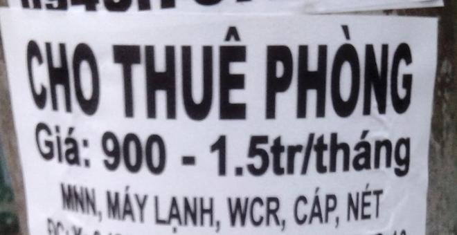 """""""Hiện thông tin về việc cho thuê phòng này tiếp tục xuất hiện trên côt điện gần trường Đại học Nguyễn Tất Thành và được nhiều bạn sinh viên xé đi"""", bạn Trương Minh Phụng chia sẻ."""