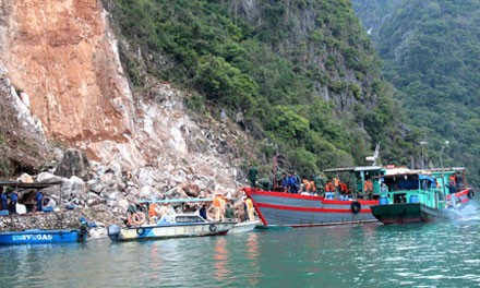 Hiện trường vụ sạt lở đá ở Quảng Ninh