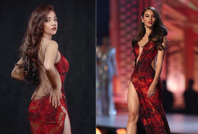 Thí sinh Hoa hậu Trái đất Myanmar nhái trắng trợn váy dạ hội của Hoa hậu Catriona Gray.
