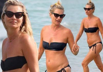 'Huyền thoại làng mốt' Kate Moss tự tin mặc bikini bé xíu ở tuổi 45