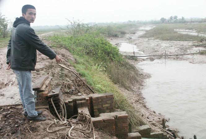Anh Tân đang chỉ một trong 5 chiếc cống trước đây bố anh xây dựng dọc theo con đê bao quanh khu đầm