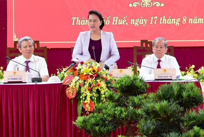 Chủ tịch Quốc hội Nguyễn Thị Kim Ngân khẳng định, Quốc hội luôn ủng hộ tối đa Dự án bảo tồn, tu bổ và tôn tạo di tích Kinh thành Huế