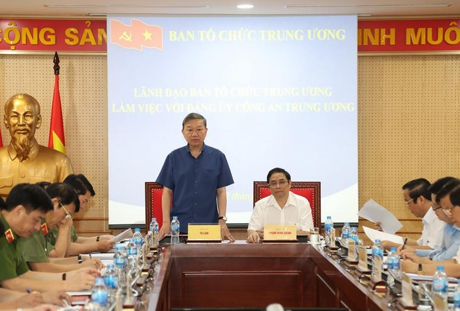 Bộ trưởng Tô Lâm phát biểu tại buổi làm việc. Ảnh Bộ Công an