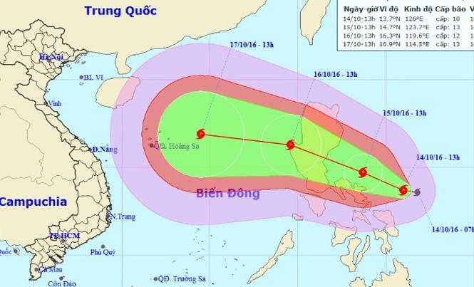 Vị trí và dự báo đường đi của cơn bão Sarika. Nguồn: Trung tâm dự báo khí tượng thủy văn Trung ương.