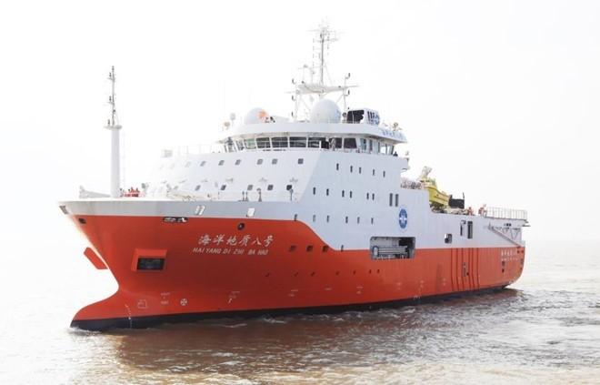 Tàu Địa chất Hải dương 8 hoạt động gần bờ biển Trung Quốc hồi năm 2018. Ảnh: Schottel