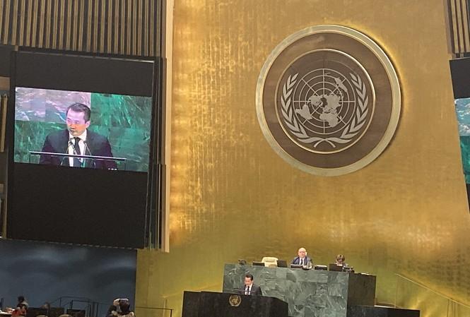 Đại diện Việt Nam phát biểu tại phiên họp của Đại hội đồng LHQ. (Ảnh: BNG)