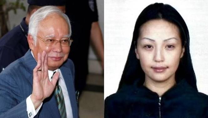 Cựu Thủ tướng Malaysia Najib Razak (bìa trái) và người mẫu Mông Cổ Altantuya Shaariibuu. (Ảnh: CNA)