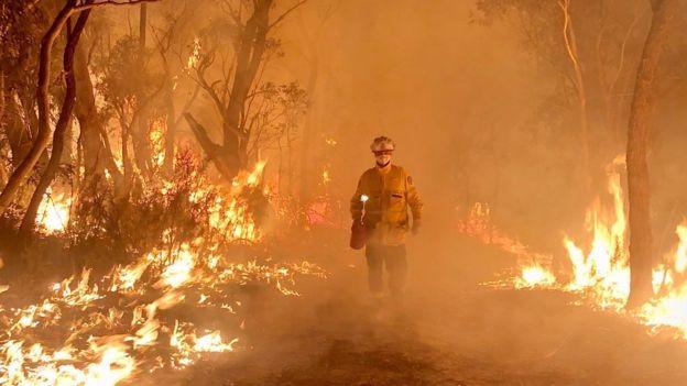 Hàng ngày lính cứu hỏa đang được triển khai để đối với phó tình trạng cháy rừng nghiêm trọng ở Úc. (Ảnh: BBC)