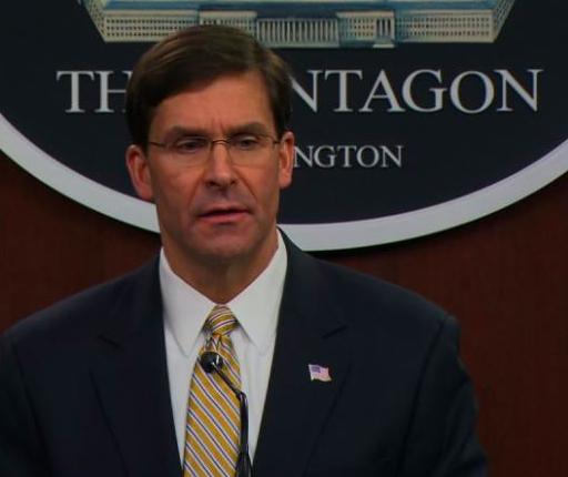 Bộ trưởng Quốc phòng Mỹ Mark Esper trong cuộc họp báo ngày 3/6. (Ảnh: CNN)