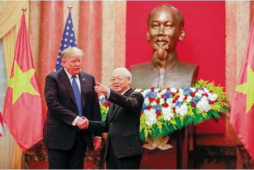 Tổng Bí thư, Chủ tịch nước Nguyễn Phú Trọng tiếp Tổng thống Mỹ Donald Trump ngày 27-2-2019 - Ảnh: Quốc tế