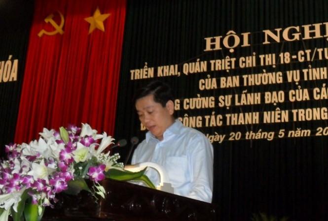 Bí thư TƯ. Đoàn Nguyễn Long Hải phát biểu tại hội nghị. Ảnh: Phạm Nhài