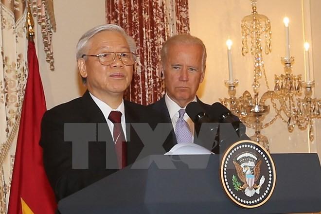 Tổng Bí thư Nguyễn Phú Trọng trong chuyến thăm chính thức Hoa Kỳ. Ảnh: Trí Dũng/TTXVN