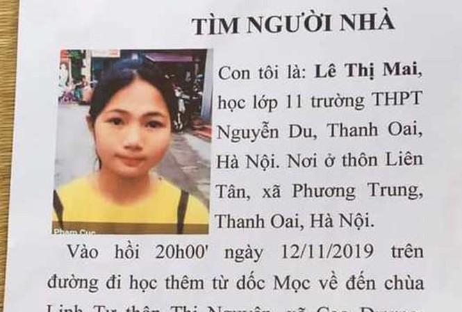 Thông tin tìm kiếm nữ học sinh mất tích trên đường về nhà.