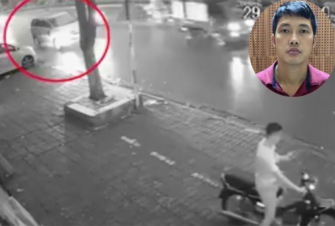 Công (ảnh nhỏ) và ảnh cắt từ clip chiếc xe gây tai nạn.