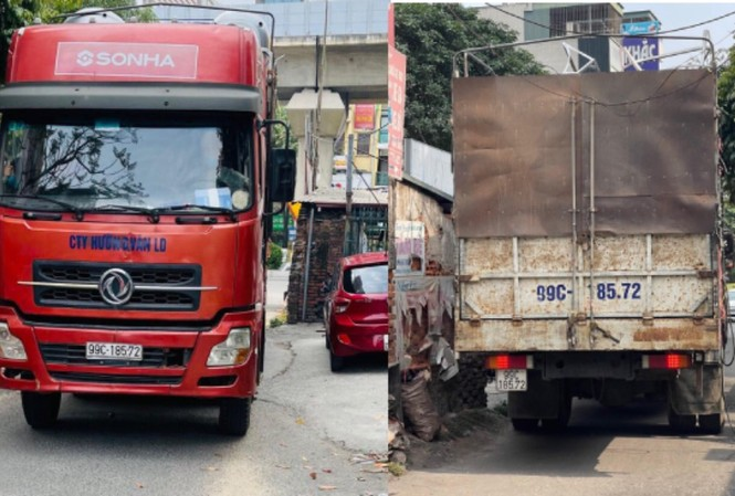 Chiếc xe container bị tạm giữ.