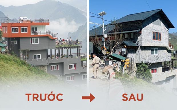 Hình ảnh công trình Mã Pì Lèng Panorama trước và sau khi được cải tạo đang gây nên nhiều tranh cãi trên mạng xã hội. (Ảnh: Người Lao động)