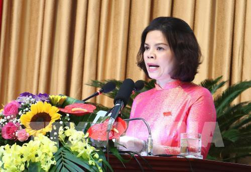 Tân Chủ tịch UBND tỉnh Bắc Ninh Nguyễn Hương Giang phát biểu nhậm chức. Ảnh: Diệp Trương – TTXVN