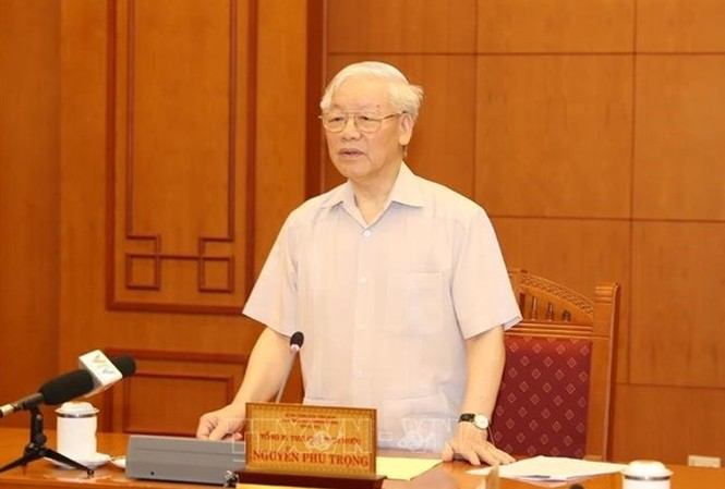 Tổng Bí thư, Chủ tịch nước chủ trì họp Tiểu ban nhân sự Đại hội XIII (ảnh TTXVN)