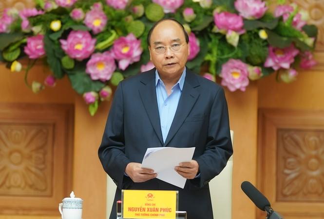 Thủ tướng Nguyễn Xuân Phúc phát biểu tại cuộc họp của Thường trực Chính phủ. Ảnh: Q.H