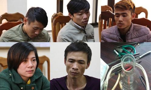 5 thanh niên làm giả vàng thật và tang vật