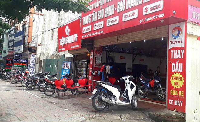 Cửa hàng sửa chưa xe máy nơi xảy ra sự việc