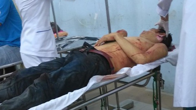 Hải đang được cấp cứu tại Bệnh viện đa khoa Tiền Giang