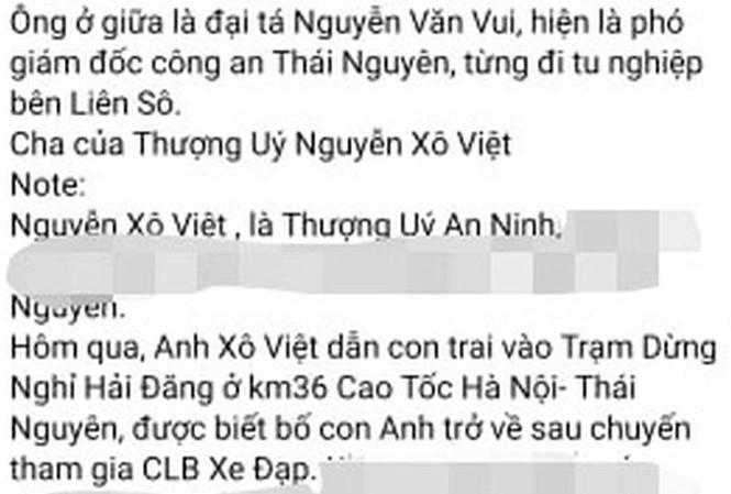 Thông tin lan truyền trên MXH Thượng uý Nguyễn Xô Việt là con trai Đại tá Vui