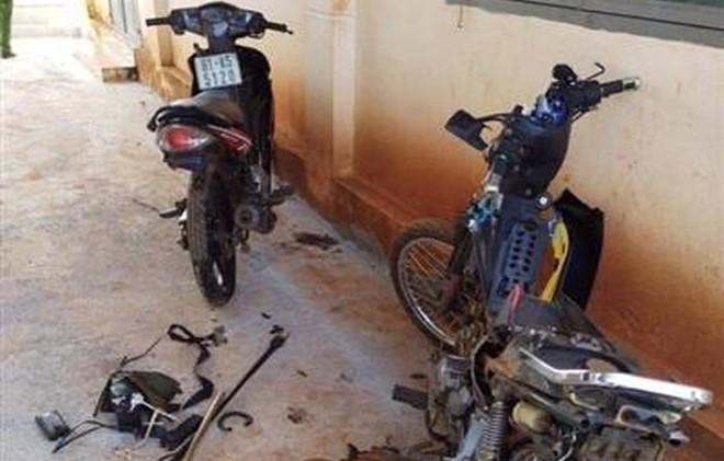 Hai xe máy của nhóm trộm chó bị đập phá