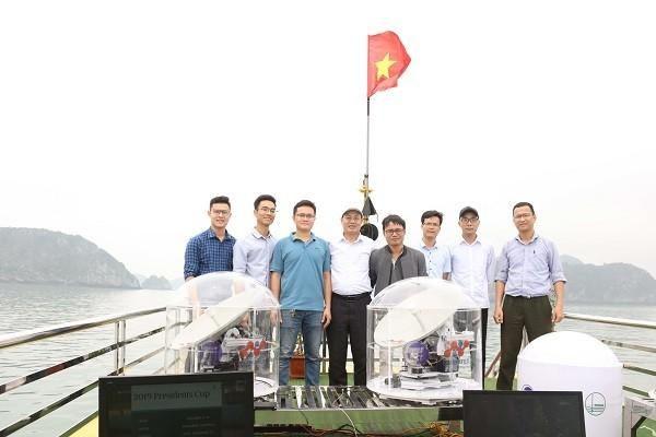Thiết bị được chạy thử tại vùng biển Cát Bà, Hải Phòng năm 2019. Ảnh VNU