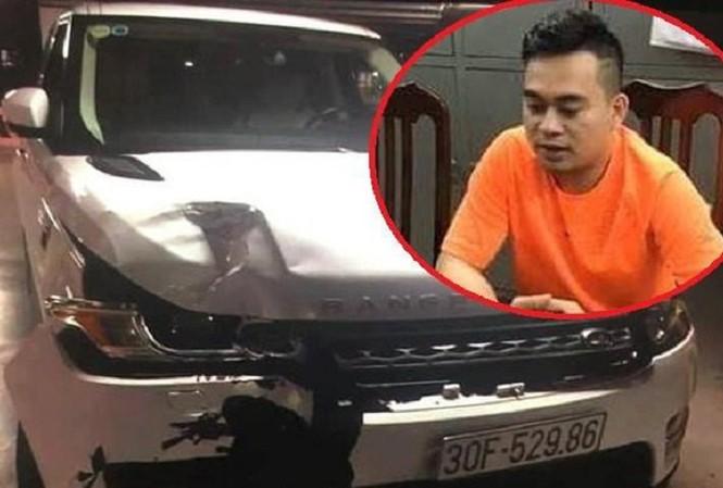 Lê Đình Tùng và chiếc xe gây tai nạn.