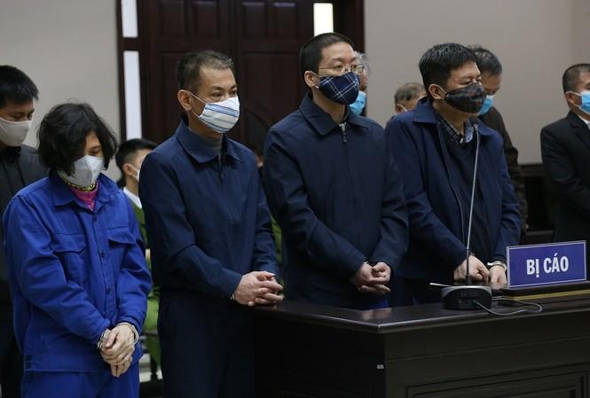 Vợ chồng Hoa Hữu Long và các đồng phạm tại tòa.