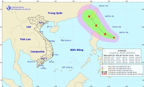Dự báo đường đi của áp thấp nhiệt đới.