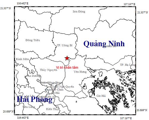 Động đất 3,2 độ richter tại thành phố Uông Bí
