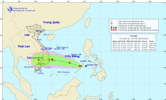 Áp thấp nhiệt đới có khả năng mạnh lên thành bão và đổ bộ vào các tỉnh Nam Trung bộ nước ta.